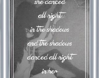 Shadow Dancer Poem Art Print 8 x 10 - Poetry on Linen - Jungian Metaphysical Mystical - Dreamers - Spiritual - Dancers - Dancing