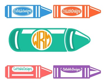 Crayon Monogram Frame Cuttable Design PNG DXF SVG & eps File Silhouette Designs Cameo