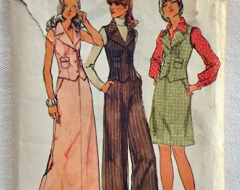 Simplicity Pattern 5857 -  Retro 70's Maxi Skirt, Princess Seam Vest w/Patch Pockets and Wide Leg Pants - Size 12 UNCUT