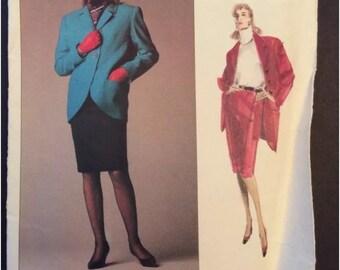 Vogue Designer Sewing Pattern Chloe 2131 Coat Jacket Skirt 12 1980s Style Uncut