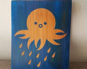Rainy octopus hanging wood art wall decor