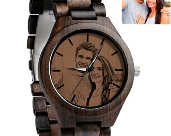 Photo Engraved Wooden Watch, Father Gift, Mens Wood Watch, Picture Watch, Photo Watches, Birthday Gift For Him, Watches With Pictures