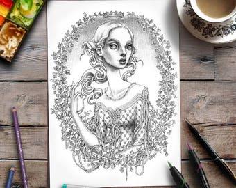 Page à colorier femme | Coloration gris adulte | Princesse
