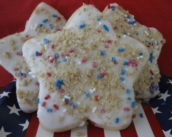 Patriotic Cookie, 4th of July Cookies, Memorial Day Cookies, Star Cut Out Cookies, Labor Day Cookies, Large Cut Out Cookies, Frosted Cookies