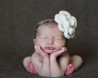 Ivory Crochet Flower on Textured Band -- Newborn