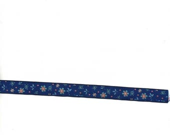 Bottom Ribbon Royal Blue, with flowers, 16mm wide