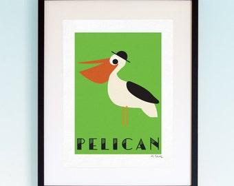 Pelican, Wildlife, Poster, Wall Art, Childrens, Nursery Print, Boys Girls Room Decor, Animal, Playroom, Native, Fauna, Australia, A4, A3