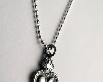 Sacred Heart Necklace/ Sacred Heart Pendant/ Sacred Heart Charm/ Silver Heart Necklace/ Milagros Necklace/ Flaming Heart Necklace