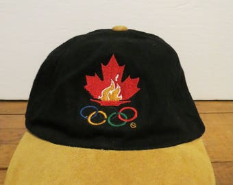 ATLANTA 1996 OLYMPICS Canada Cap Hat Black + Suede Kalson Adjustable Maple Leaf Olympic Rings