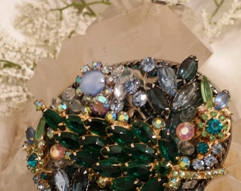 One of a Kind Jeweled Belt Buckle Designed with Vintage Jewelry