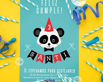 panda Birthday printable custom bear. Panda Bear Party. Decoration Panda Bear