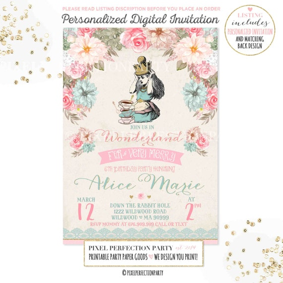 Alice in Wonderland Invitation Vintage Alice In Wonderland