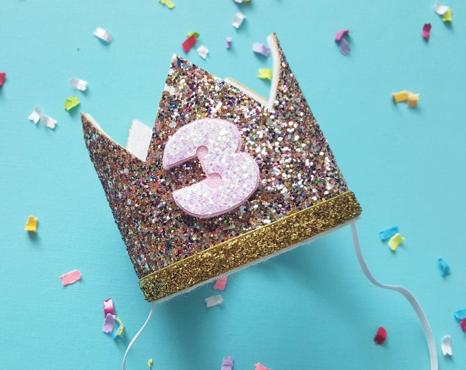 Glittery Birthday Crown | Birthday Crown | 3rd Birthday Crown | Girl Birthday Crown | Baby Birthday | Pink and confetti | Ready to Ship