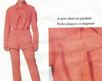 90s Issey Miyake Womens Jacket and Pants Vogue Designer Original Sewing Pattern 2271 Size 10 Bust 32 1/2 UnCut  A New Slant on Pockets