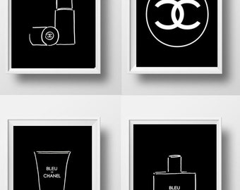Chanel Black Set of 3 Chanel perfume Brush men wall art  bathroom print Printable Wall Art decal man cave poster deco large small 8x12 16x24