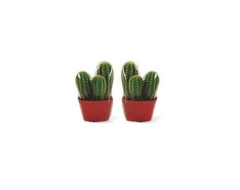 Cactus Plant Stud Earrings - Potted Cactus Stud Earrings - Plants - Stud Earrings - Cactus Earrings -Hypoallergenic Surgical Steel Studs