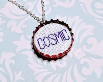 Cosmic Cross Stitch Pendant Necklace