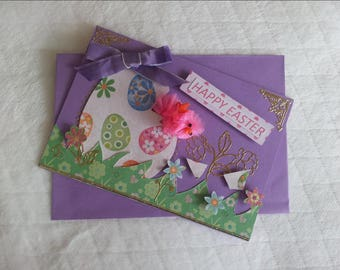 Double Easter card, envelope, purple