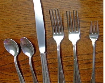 Albert Pick Hotels Vintage Silver Plate 6 piece table setting Engraved with Albert Pick Hotels Knife spoon dinner salad seafood forks