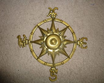 Brass Compass Rose - Ornate Relief Wall Hanging Form for Nautical and Map lovers - Stylish and Rugged indoors or out