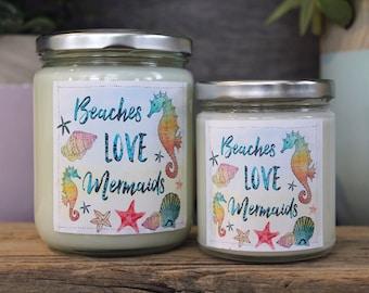BUNDLE DEAL - Beaches Love Mermaids - Soy Candle Bundle - 9 oz Candle - 16 oz Candle- Beach Scents- Coastal Decor -Salty Soul -Mermaid Gifts