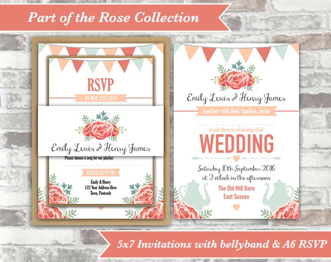 PRINTABLE Digital Files - Rose Collection - Personalised Afternoon Tea Wedding Invitation Bundle Print Your Own DIY - Peach Blue Vintage