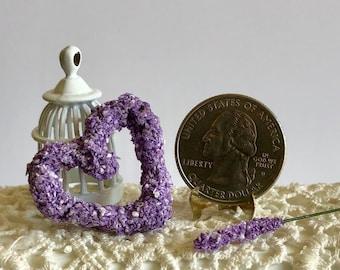 Dollhouse Miniature Lavender Heart Wreath Artist Made