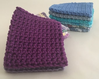 Cotton Reusable Facial Scrubbies Set of 12 Blue and Purple Crochet Baby Wash Cloths. Makeup Remover. Ready to Ship