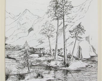 Caren Taylor *ORIGINAL ART*  Pen and Ink Drawing **Mountain Stream** A Simple But Beautiful Tranquil Landscape Scene Mounted for Shipping