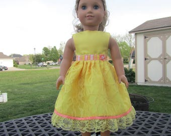 Yellow Party Dress American Girl 18 in Doll