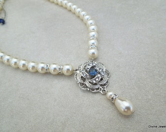 Something Blue Necklace Ivory Swarovski Pearls Pearl Bridal Necklace Pearl Rhinestone Necklace Statement Bridal rhinestone Necklace ROSELANI