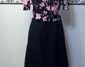 1950's Jet Black A Line Pin Up Skirt with Pockets, Vintage Large / XL 1960's Black Rockabilly Skirt
