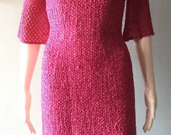 Stunning Fuschia 1950's Fitted Ribbon Wiggle Dress Small