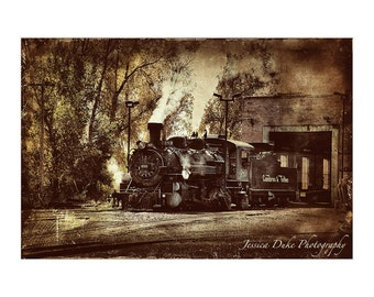 Train Photography, Sepia Photography, Locomotive, Steam Engine, Old Train, Train Art, Matted Print, Ready to Frame, Standard Size Frame