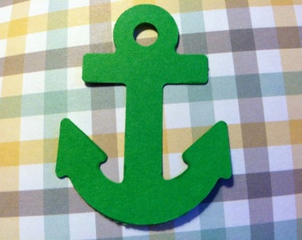24 GREEN Anchor   2 inches in size Hand Punched die cuts,