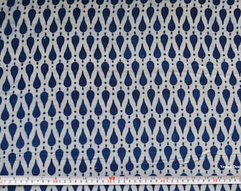 Geometric print Indigo fabric mudcloth cotton block print fabric by the yard