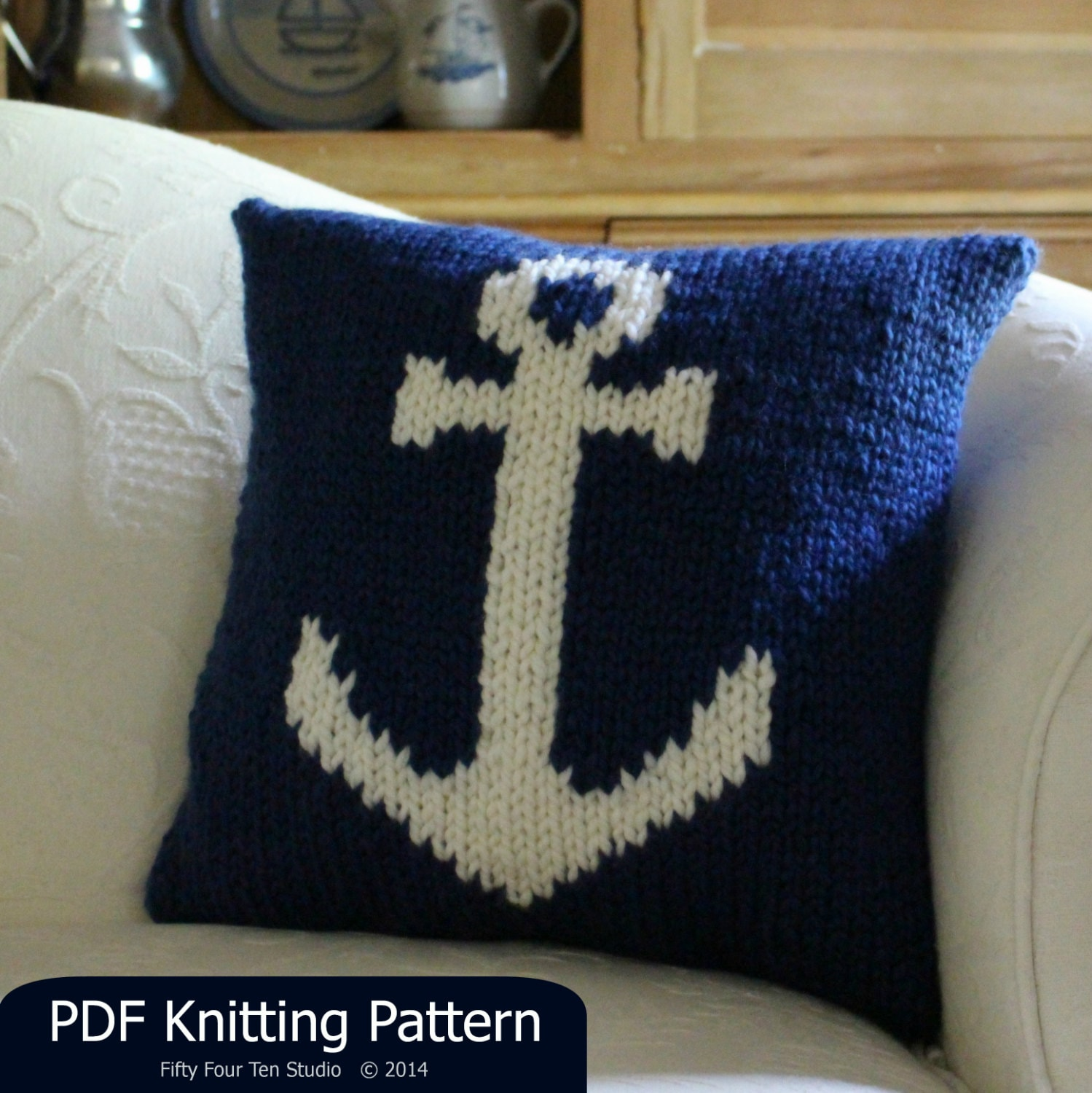 Pillow KNITTING PATTERN / Cushion / Anchor / Nautical / Quick