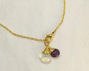 Faceted Opalite and Amethyst Teardrop Bracelet on 14k Gold