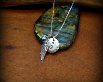 Angel wing necklace. Semicolon necklace