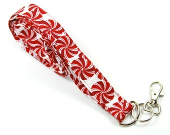 PEPPERMINT Fabric Lanyard, Red and White Fabric Lanyard, Red Fabric Lanyard, Peppermint Badge Holder
