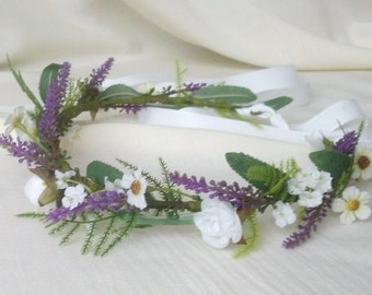 Lavender fields greenery floral crown silk flowers artificial Hair Wreath Wedding Accessories purple baby girl photo prop halo Bridal
