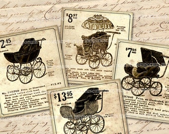 Antiqe Pram Baby Carriage Printable Ads Perambulator Stroller Digital Paper Scrapbook Decoupage Newsprint Ephemera Collage Sheet Clipart 750