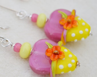 HAPPY HEARTS-Handmade Lampwork and Sterling Silver Earrings