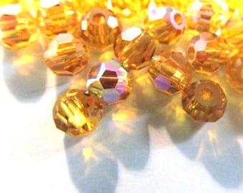 3mm or 4mm Topaz AB Aurora Borealis Swarovski 5000 Round Jewelry Beads (15 beads)