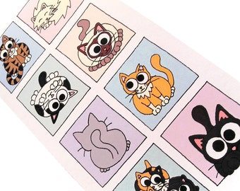Cats Card (pastel colours) - Blank inside, tall card with 8 boxes of cute cartoon kitties, perfect for any cat lover