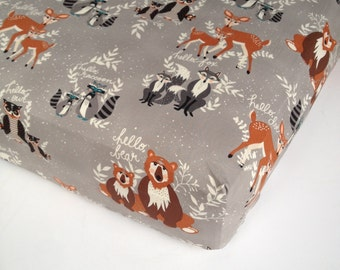 Woodland Crib Bedding - Changing Pad Cover - Fitted Crib Sheets / Mini Crib Sheet - Woodland Crib Sheet - Toddler Boys Bedding Bears