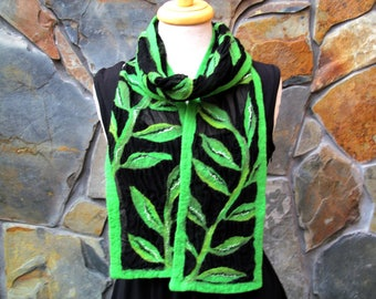Leafy vines on black silk chiffon, nuno felt scarf