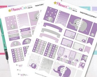 Elephant Planner Stickers,  Purple Elephant, Kawaii Printable Planner Stickers, Cute Stickers for your planner, Erin Condren K020