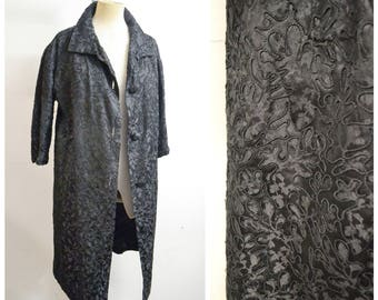1950s Black soutache embroidery satin evening coat / 50s 60s embroidered long jacket overcoat - L