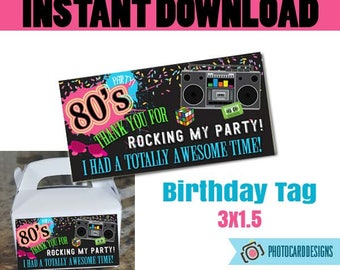 80s Party THANK YoU TAG, Thank You, 80s Birthday Party, 80's Party Printable, 80s, Retro, Digital, Printable, Party, INsTANT DOWNLOAD